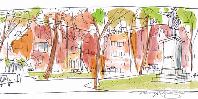 Philadelphia Scene Drawing - Independence Park Philadelphia by Marilyn MacGregor