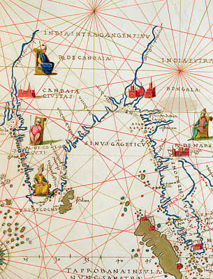 Continent Drawing - India And Malaysia by Battista Agnese