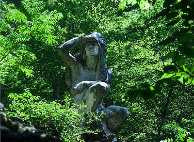 Indian Statue Along The Wissahickon Print by Bill Cannon