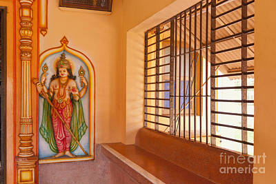 Indian Temple Bench And Artwork Print by Inti St. Clair