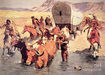 Cow Boy Painting - Indians Attacking A Pioneer Wagon Train by Frederic Remington
