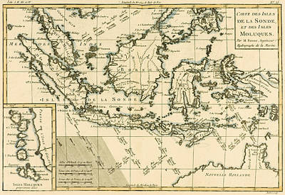 Border Drawing - Indonesia And The Philippines by Guillaume Raynal