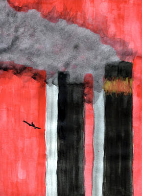 Twin Towers Nyc Painting - Inferno by Eric Forster