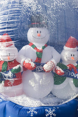 Inflatable Snowman Globe Family Close-up Print by James Forte