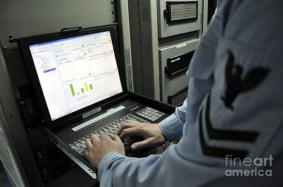 Information Systems Technician Monitors Print by Stocktrek Images