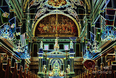 Inside St Louis Cathedral Jackson Square French Quarter New Orleans Glowing Edges Digital Art Print by Shawn O'Brien