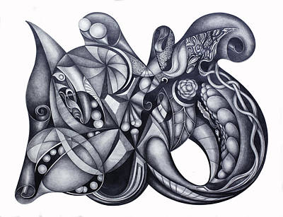 Abstract Shapes Drawing - Instinctive Creations 106 by Lonnie Tapia