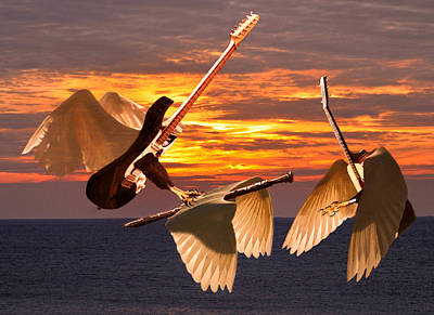 Flying Guitars Mixed Media - Instrumental Rift by Eric Kempson