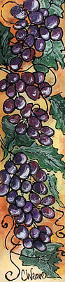 Reverse On Glass Painting - Intellectual Wine Panel 2 by Cathy Weaver