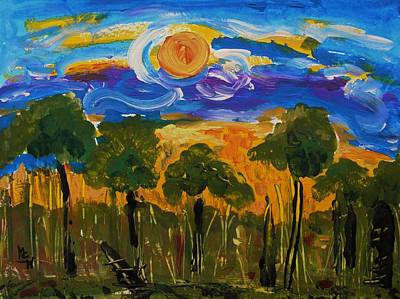 Visionary Art Drawing - Intense Sky And Landscape by Mary Carol Williams