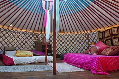 Yurts Photograph - Interior Of A Mongolian Yurt Used by Corepics