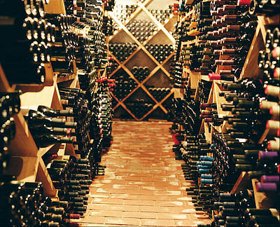 Images Of Wine Bottles Photograph - Interior Of A Wine Cellar by Joao Canziani