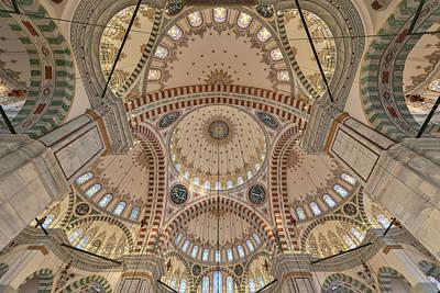 Interior Of Fatih Mosque Print by Salvator Barki