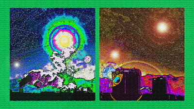 Interplanetary Space Mixed Media - Interplanetary Conceptual Diptych by Steve Ohlsen