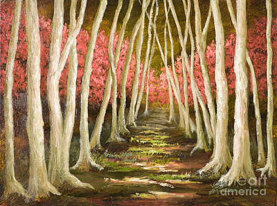 Mo Artist Painting - Into The Woods-series With Gold Leaf By Vic Mastis by Vic  Mastis