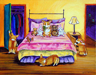 Cartoon Animals Painting - Invisable - Pembroke Welsh Corgi by Lyn Cook