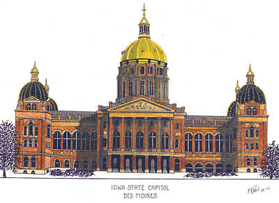Capitol Building Mixed Media - Iowa State Capitol by Frederic Kohli
