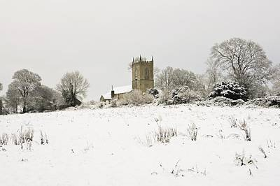 Ireland Winter Landscape With Church Print by Peter McCabe