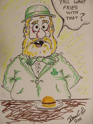 Fries Drawing - Irish American Readneck  Leprechaun by Paul Chestnutt