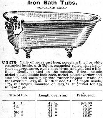 Domestic Bathroom Photograph - Iron Bathtub, 1900 by Granger