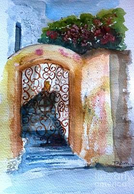 Door Painting - Iron Door With Bougainvillea by Therese Alcorn