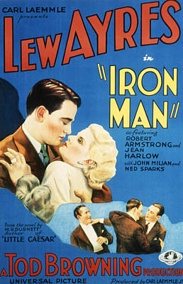 1931 Movies Photograph - Iron Man, Lew Ayres, Jean Harlow, 1931 by Everett