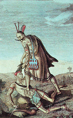 Iroquois Warrior Scalping Enemy, 1814 Print by Photo Researchers