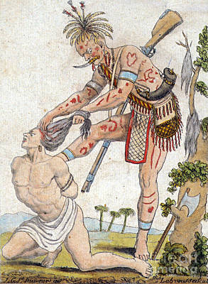 Iroquois Warrior Scalping Enemy Print by Photo Researchers