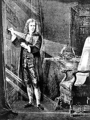 Isaac Newton, Ray Of Light Print by Omikron