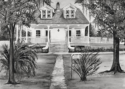 Southern Plantation Painting - Islenos Museum In Black And White by Elaine Hodges