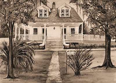 Southern Plantation Painting - Islenos Museum In Sepia by Elaine Hodges