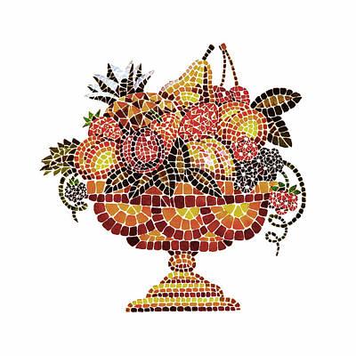 Dining Room Italian Painting - Italian Mosaic Vase With Fruits by Irina Sztukowski