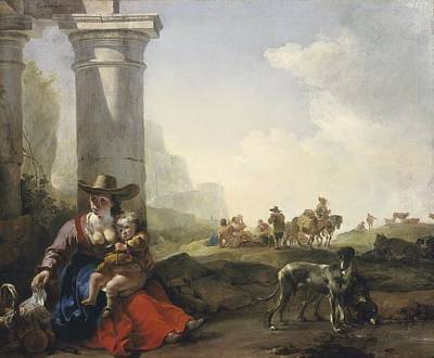 Donkey Painting - Italian Peasants Among Ruins by Jan Weenix