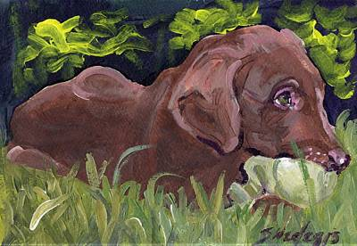 Chocolate Lab Puppy Painting - It's A Great New Day by Sheila Wedegis