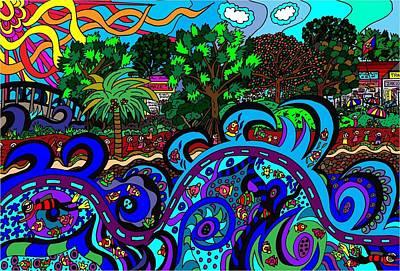 Its Rough In The Ocean Print by Karen Elzinga