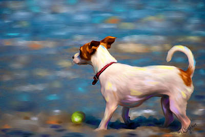 Pet Painting - Jack At The Beach by Michelle Wrighton