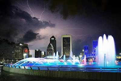 Thunderstorm At The Friendship Fountain Print by Jeff Turpin