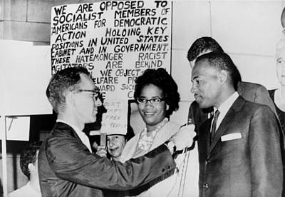 James Meredith And Wife In Front Print by Everett