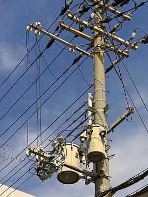 Telephone Poles Photograph - Japan Power Utility Pole by Daniel Hagerman