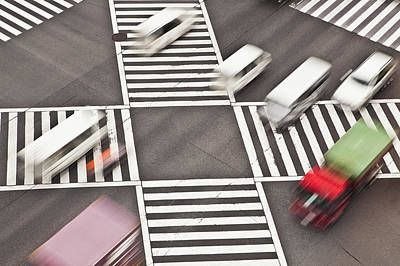 Crosswalk Photograph - Japan, Tokyo, Shibuya Crossing, Elevated View by Bryan Mullennix