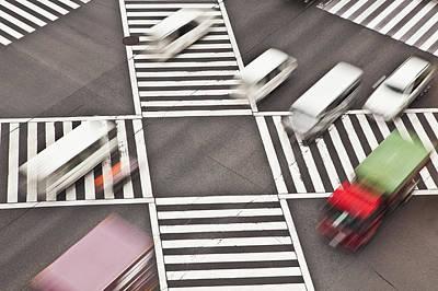 Y120907 Photograph - Japan, Tokyo, Shibuya Crossing, Elevated View by Bryan Mullennix