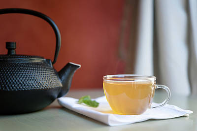 Japanese Cast Iron Teapot, Hot Tea And Mint Leaves Print by Alexandre Fundone