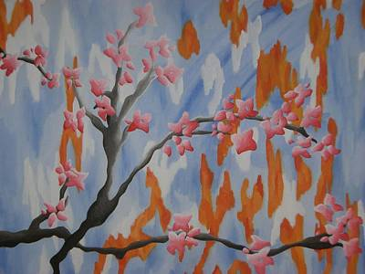 Japanese Cherry Blossoms Print by Joanna Leack
