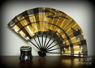 Japanese Fan And Pot Print by Renee Trenholm