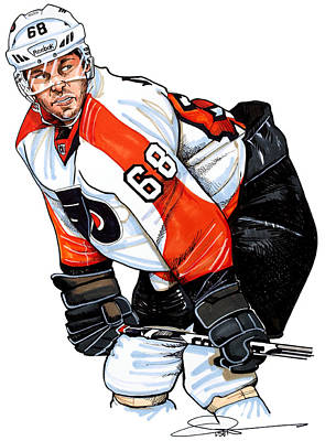 Philadelphia Flyers Drawing - Jaromir Jagr by Dave Olsen