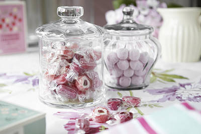 Jars Of Candies On Table Print by Debby Lewis-Harrison