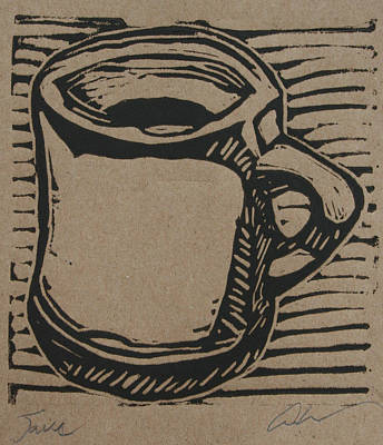 Linoleum Drawing - Java by William Cauthern