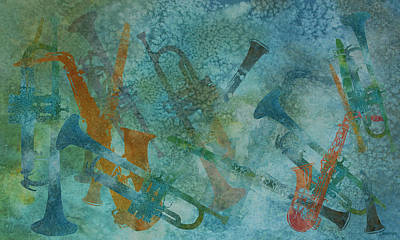 Trumpet Digital Art - Jazz Improvisation One by Jenny Armitage