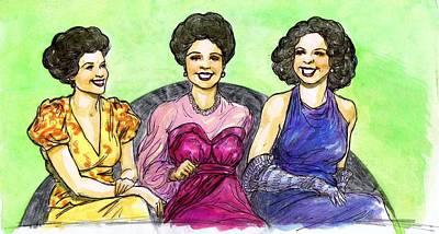 Jazz Band Drawing - Jazz Ladies by Mel Thompson