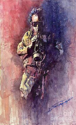 Jazz Miles Davis Maditation Print by Yuriy  Shevchuk